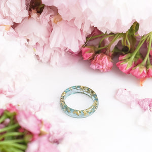 Minimalist Faceted Ring - Jade & Gold Leaf - Little Hurricane Co