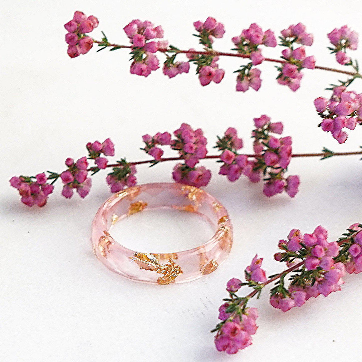 Minimalist Faceted Ring - Pink & Gold Leaf - Little Hurricane Co