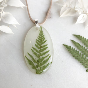 Oval Foraged Fern Necklace on White - Little Hurricane Co