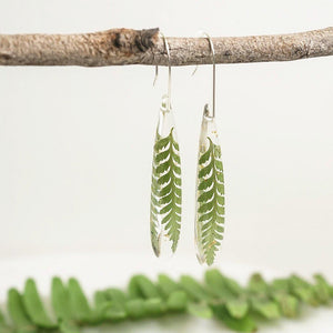 Smooth Teardrop Dangles - Little Fern & Gold Leaf - Little Hurricane Co