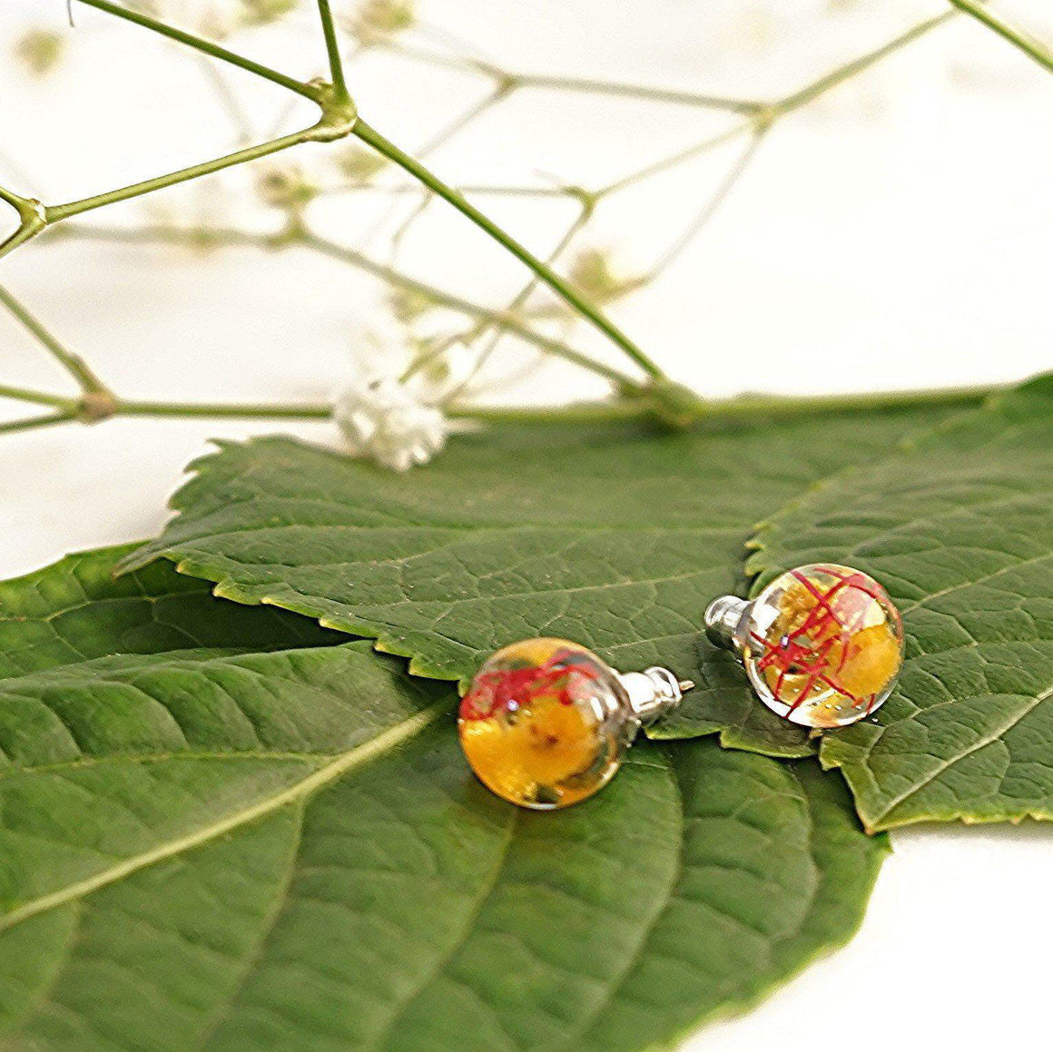 Sphere Studs - Golden Wattle & Gumnut Blossom - Little Hurricane Co