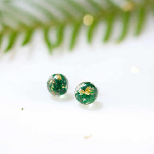 Sphere Studs - Moss & Gold Leaf - Little Hurricane Co