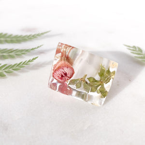 Super Statement Ring - Pink Gum & Greens - Little Hurricane Co