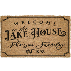 Custom Lake House With Last Name Coir Doormat