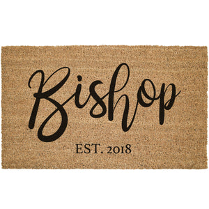 Custom Cursive Last Name Coir Doormat