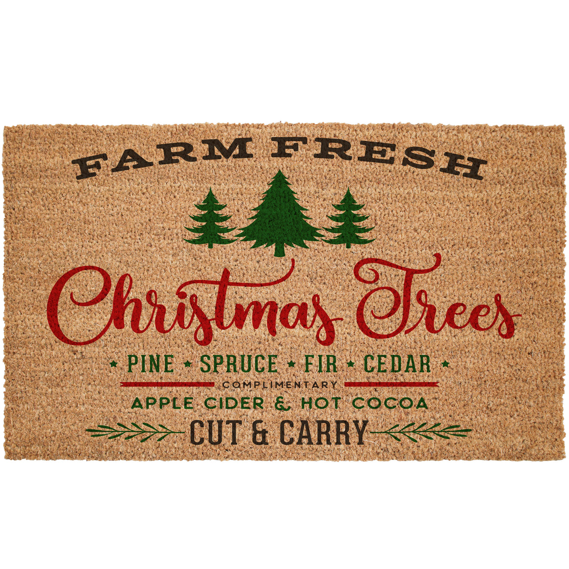 Farm Fresh Christmas Trees For Sale Coir Doormat