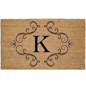 Custom Monogram With Flourish Coir Doormat