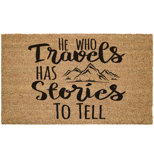 He Who Travels Has Stories To Tell Coir Doormat