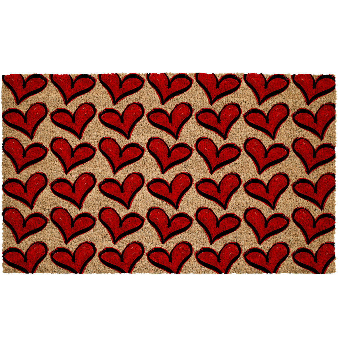 Red Hearts Valentines Coir Doormat