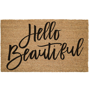 Hello Beautiful Large Cursive Font Coir Doormat