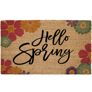 Hello Spring With Flowers Coir Doormat