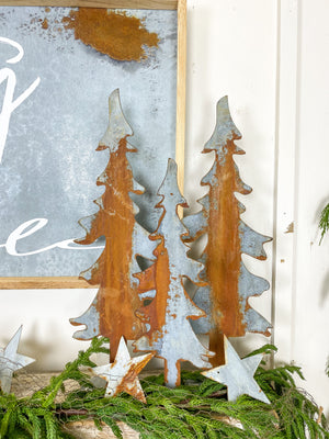 Rusty Metal Trees with Base, 2 Sizes