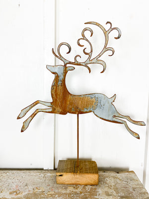 Metal Leaping Deer On Stand