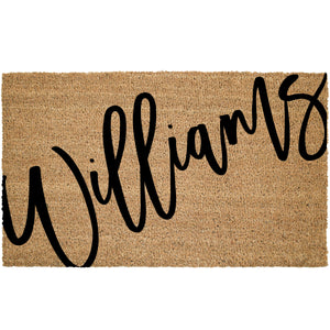Large Cursive Last Name Coir Doormat