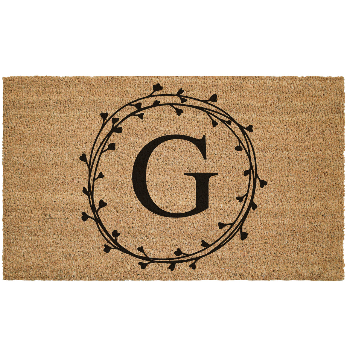 Custom Laurel Wreath Monogram Coir Doormat