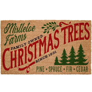 Mistletoe Christmas Tree Farm Coir Doormat
