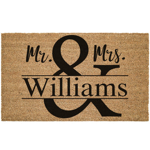 Custom Mr. & Mrs. Last Name Coir Doormat