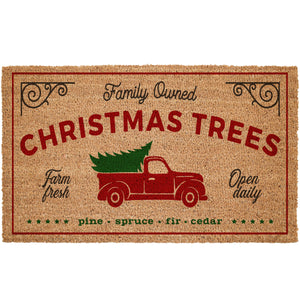 Red Truck Christmas Tree Farm Coir Doormat