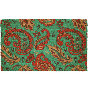 Turquoise & Red Paisley Pattern Coir Doormat