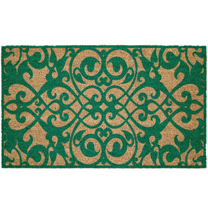 Turquoise Scroll Pattern Coir Doormat