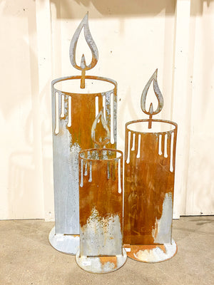 Free standing Rusty Metal Candlestick, 3 sizes
