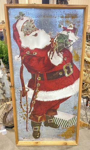 Santa Metal Christmas Sign