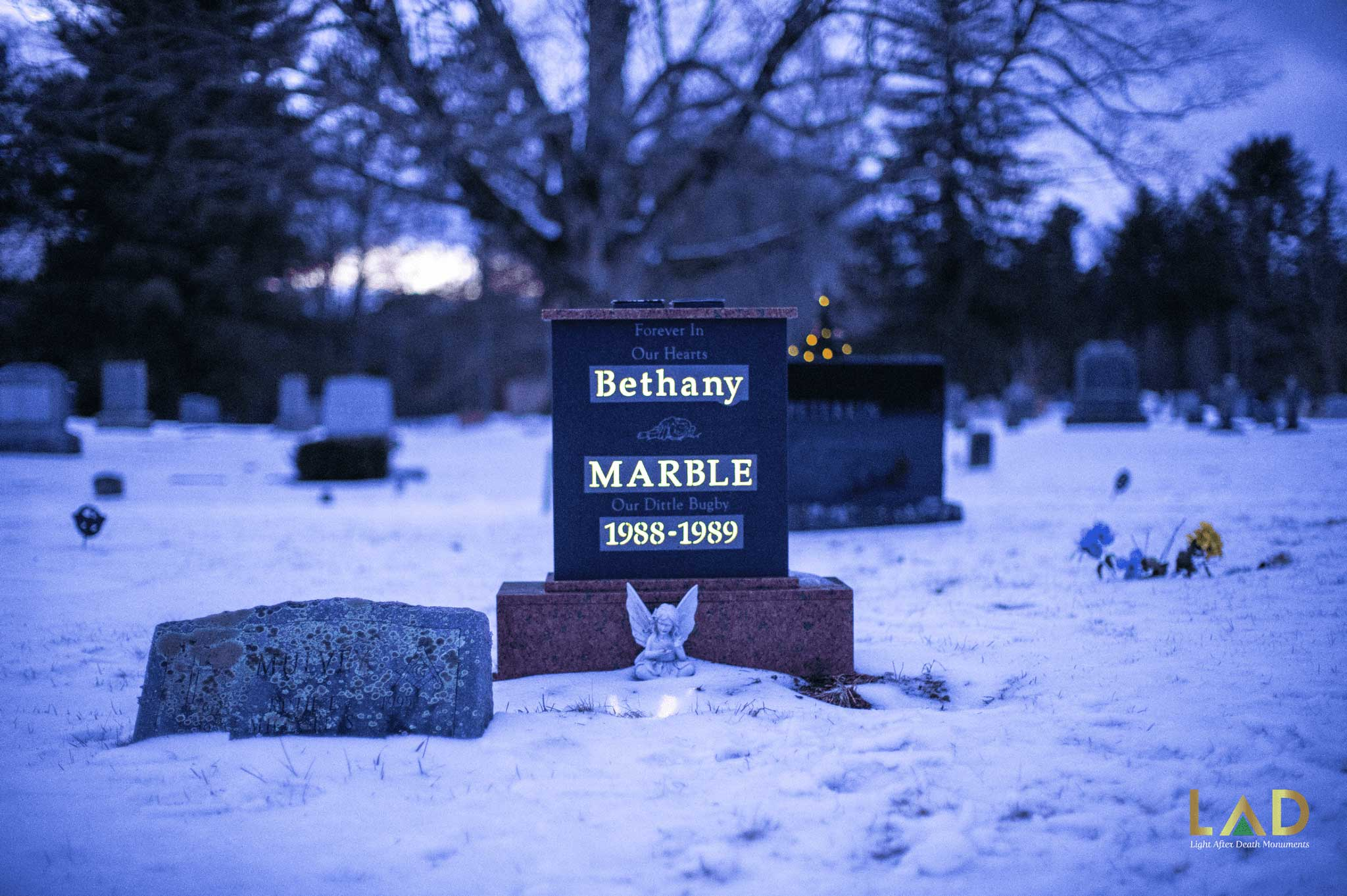 Bethany Marble, forever in our hearts solar illuminated monument located at Pine Grove Cemetery in Brookfield, Massachusetts