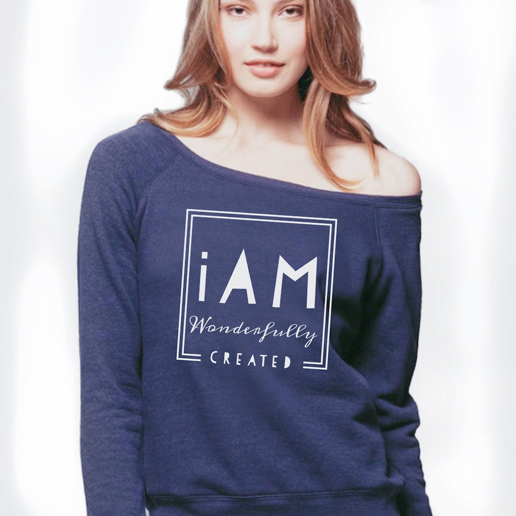 """IAm Wonderfully Created"" - Women's Sponge Fleece Wide Neck Sweatshirt"