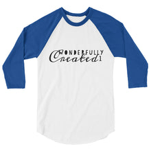Load image into Gallery viewer, Wonderfully Created1 Logo- 3/4 sleeve raglan shirt- Unisex