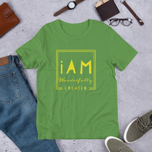 Load image into Gallery viewer, iAm Wonderfully Created (yellow letters)-Sleeve Unisex T-Shirt