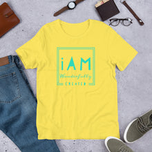 Load image into Gallery viewer, I Am Wonderfully Created (teal letter) Short-Sleeve Unisex T-Shirt