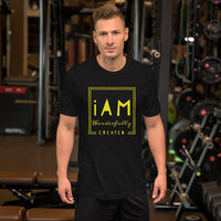 iAm Wonderfully Created (yellow letters)-Sleeve Unisex T-Shirt