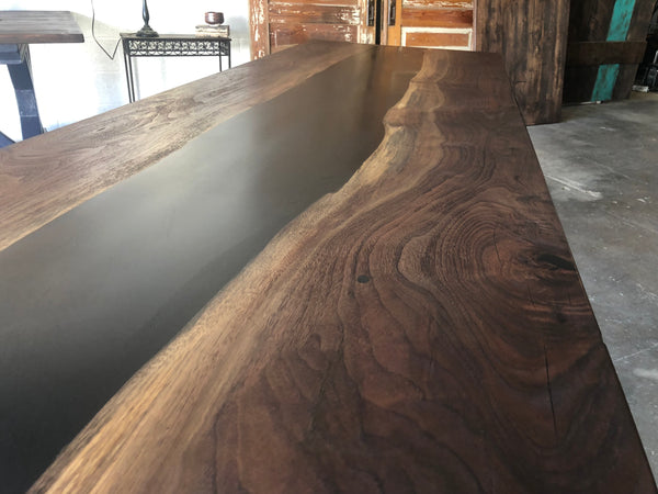 Walnut Epoxy Live Edge Dining Table