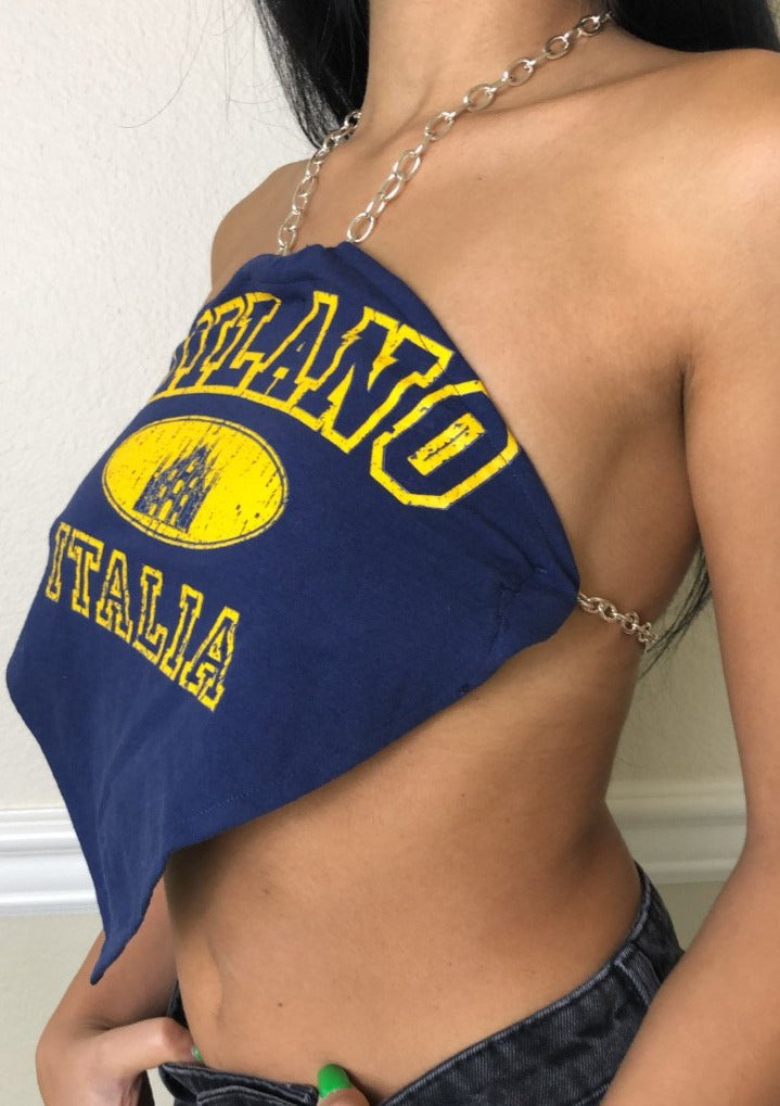 Navy Chain Triangle Top