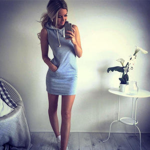 Womens Hoody Mini Dress Casual Sleeveless Grey With Pockets