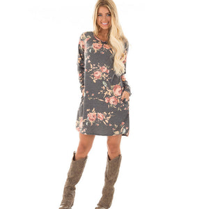 Floral Printed Long Sleeve Dress with Pockets