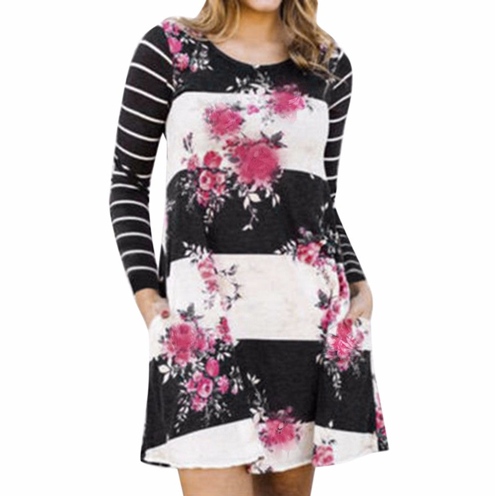 Floral Stripped Print Mini A-Line Dress with Pockets
