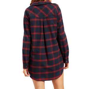 Boy friend Plaid Tunic with Pockets