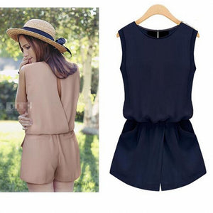Macacao feminino Chiffon Jumpsuit Women One Piece Back Hollow Out Playsuit  Romper With Pockets