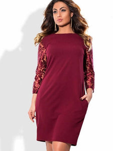 Plus Size Lace Sleeve Dress with Pockets