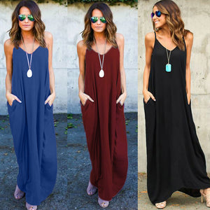 Solid Maxi Dres with Pockets