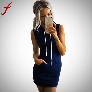 Summer  Sleeveless Hoody Dress with Pockets
