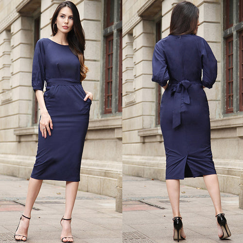 Plus-Size Womens three-quarter sleeve Navy Belt Dress with Pockets