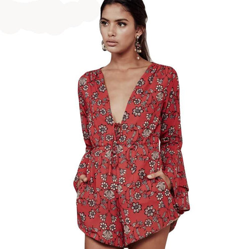 Cotton Print Floral V Neck Rompers with Pockets