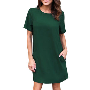 Womens Casual Boyfriend Dress with Pockets