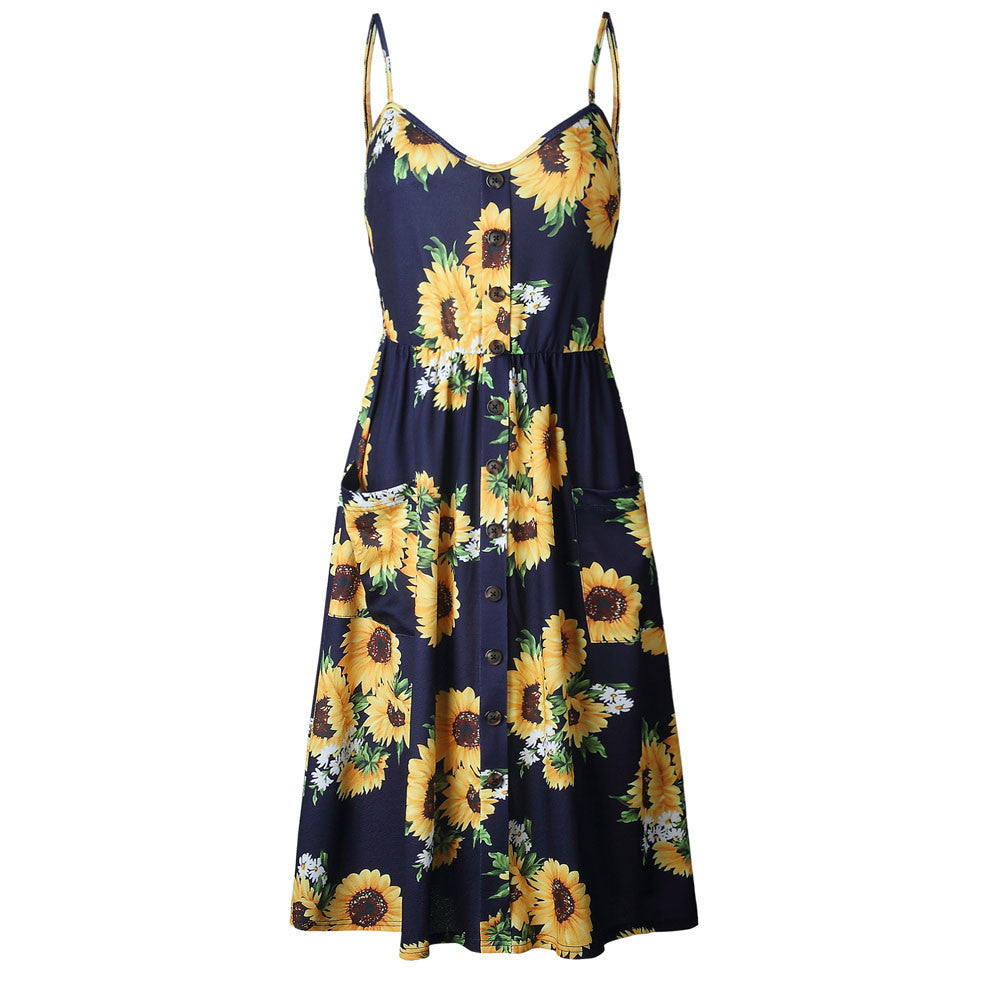 Sunflower Button Dress with Pockets