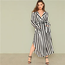 Black And White Stripe V Neck Belted Plus Size Maxi Dress With Front Pockets