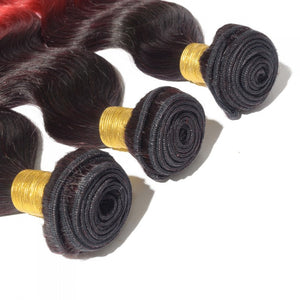 1B/Red  Body Wave - 3 Bundle Deal