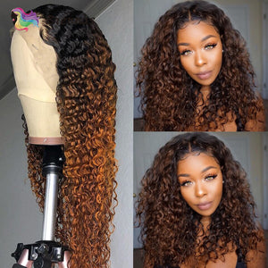 Ombre Curly Lace Part Human Hair Wigs for Women T Part Lace wig 1B30 brown color 13x1 lace wig Brazilian Remy hair Pre Plucked