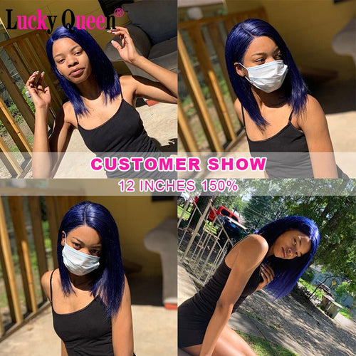 Blue Short Bob Lace Wigs